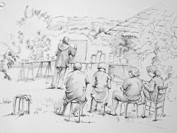 un cour à Lucante dessin de Michel Giboz